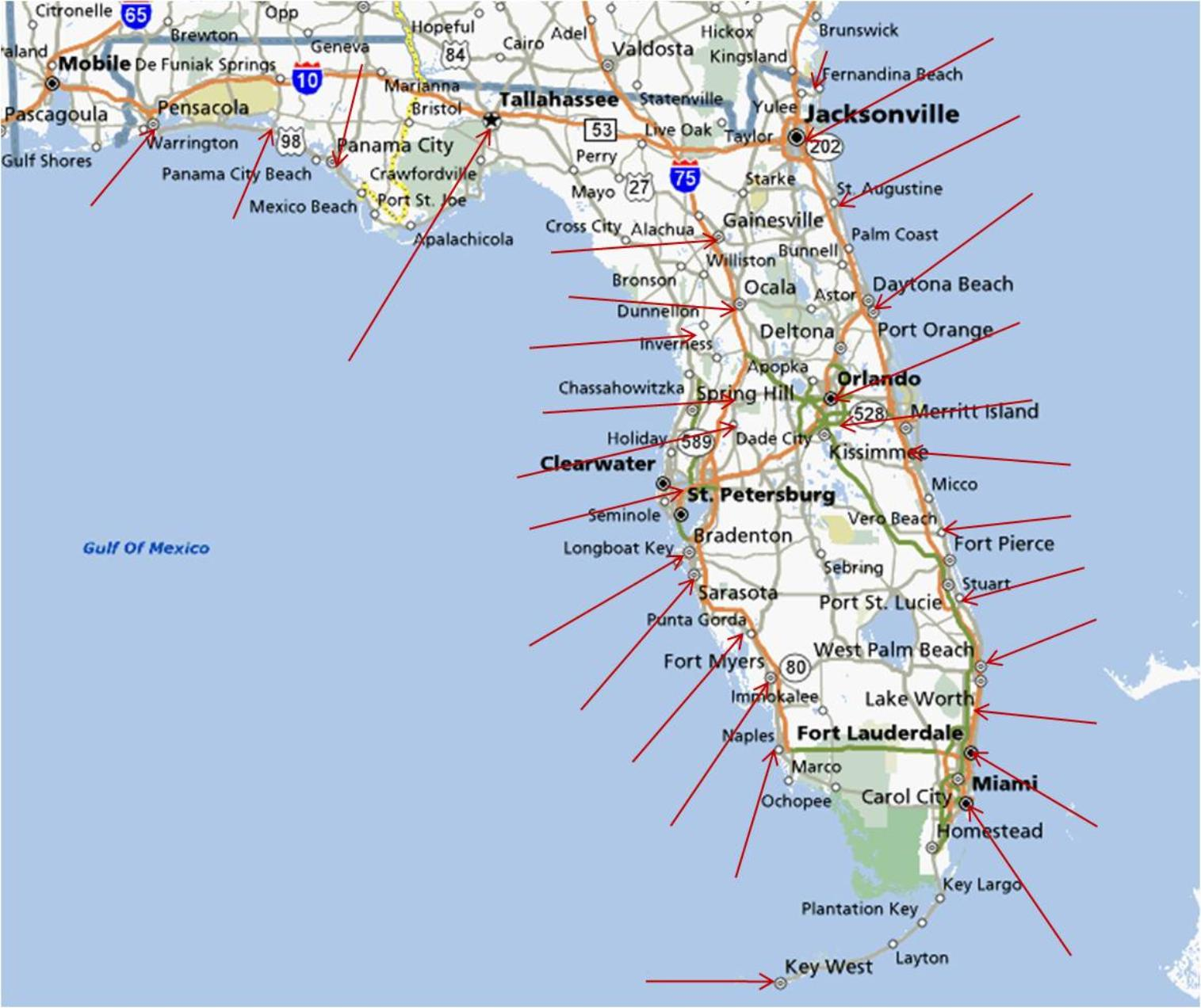 Map North Florida Coast Panhandle With Cities I95